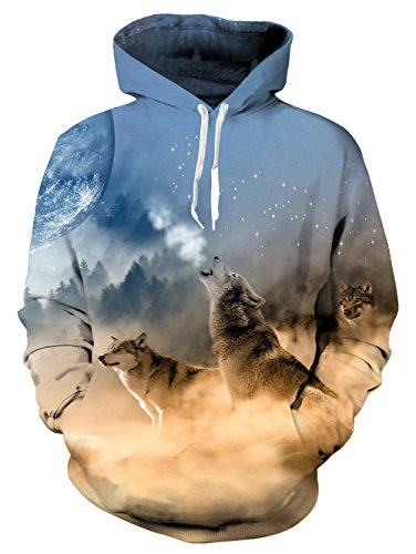 Uideazone Mens Graphic Wolf Moon Hooded Sweatshirts Cool Pullover Hoodie Small