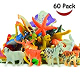 AMGlobal Animals Figure, Jungle Animals Toys Set, 60 Pack Assorted Mini Plastic Animal Toy Set, Realistic Wild Animal, Farm Animal Toy, Party Favors Toys, Educational Toy, Bath Toy For Kids Children