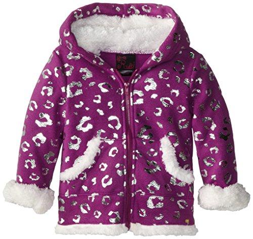 Girls Rule Little Girls' Polar Fleece Hoodie with Leopard Foil, Purple, 6