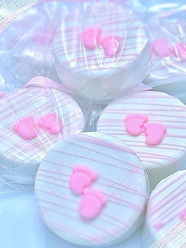 Baby Girl Chocolate Dipped Oreo's Cookies (12) Pink Baby Feet Shower cookies
