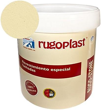 Pintura revestimiento especial fachadas Rugo Stone Colores ideal para dar un toque de color a las paredes exteriores de tu casa (15L, Trigo) Envío GRATIS 24 h.