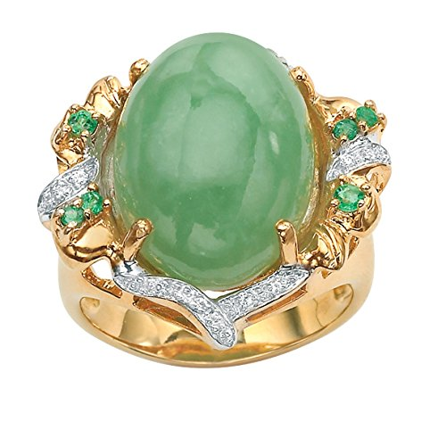Genuine Green Emerald, Jade and Cubic Zirconia Accent Gold Tone over .925 Silver Oval Ring Size - Ring Gold Accent Tone
