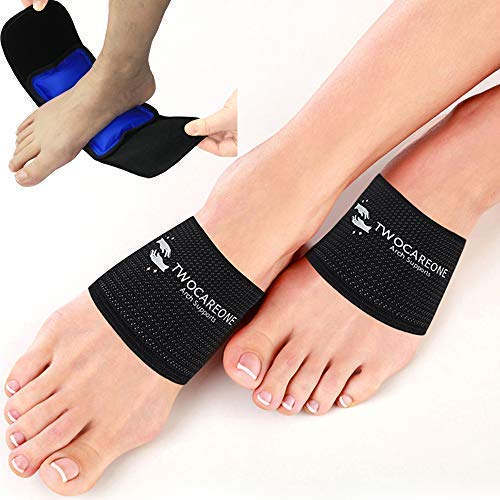 Arch Support Ice Hot Pack TWOCAREONE - Compression Planter is Treat Plantar Fasciitis - Cold Wrap Pack for Feet Pain Relief Therapy - Can be used with Shoe Insert Sleeve - Night Brace Splint Products