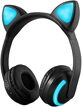 Amazon Com Treesine Wireless Bluetooth Cat Ear Headphones With Mic 7 Colors Led Light Flashing Glowing On Ear Stereo Gaming Headset Compatible With Smartphones Pc Tablet For Girls Kids Electronics