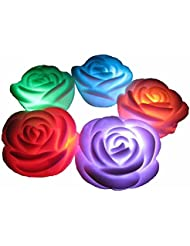 Valentine's Day Flameless Candles ,6-Battery Powered, Waterproof, Color Changing (7 Colors) LED Romantic Rose Flower Night Light Floating Candle.