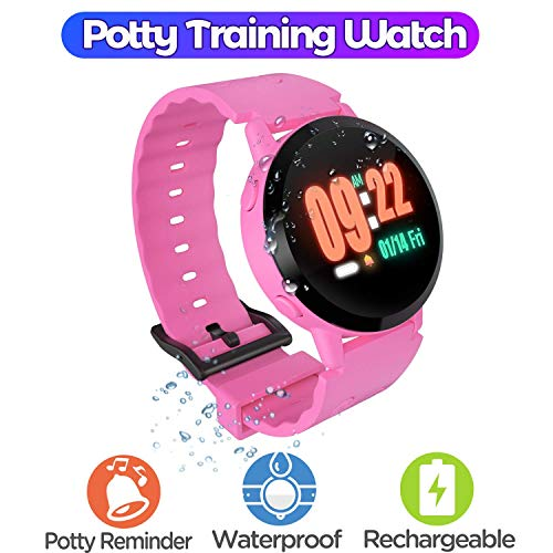 Gimars Upgrade IP67 Total Waterproof Potty Training Watch Reminder for Kids Toddler with Music & Flashing Screen Reminder, Easy Operate Rechargeable Toddler Timer Watch for Boys and Girls, Pink