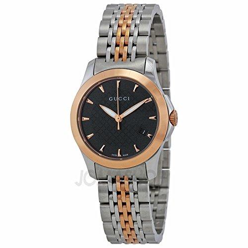 Gucci Gucci intemporal Negro Dial Bicolor Acero inoxidable Acero Damas Reloj YA126512
