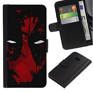 LECELL--Cuero de la tarjeta la carpeta del tirón Smartphone Slots Protección Holder For HTC One M8 -- Oscuro de la araña del superhéroe --