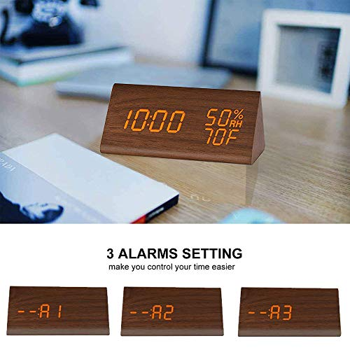Digital Alarm Clock, with Wooden Electronic LED Time Display, 3 Alarm Settings, Humidity & Temperature Detect, Wood Made Electric Clocks for Bedroom, Bedside... (Brown)