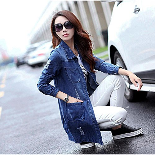 largo de con de larga agujero de largo mezclilla moda Internert Azul Chaqueta Jean mujer Abrigo Outwear manga de abrigo chaqueta mezclilla de Moda wv1T0zq6