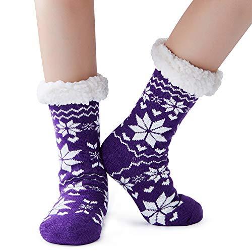 Snowman Soft Stocking - Goodstoworld Women's Christmas Sherpa Socks Fuzzy Soft Christmas Knee Highs Stockings Grippers Slipper Socks