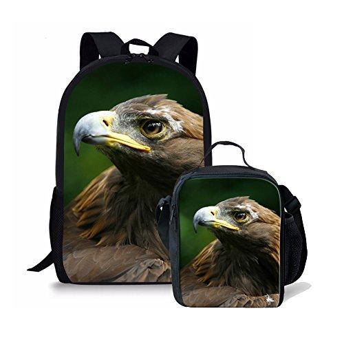Amzbeauty Hawk School Backpack Lunch Bag Set for Kids personalized - Hawk Backpack Girls For