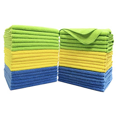Polyte Microfiber Cleaning Towel (16x16, 36 Pack, Premium, Blue,Green,Yellow)