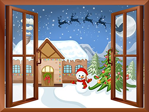 Cartoon Santa Claus and Reindeers Flying over The Rooftop Peel and Stick Removable Window View Wall Sticker Wall Mural