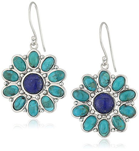 Sterling Silver Synthetic Compressed Turquoise and Lapis Flower Drop (Lapis Lazuli Flower)