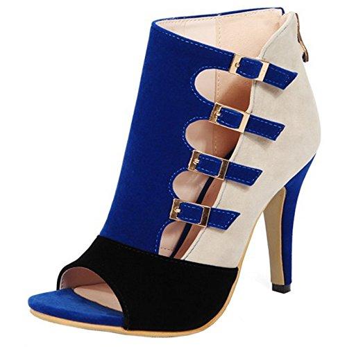 Peep Femmes de Bleu TAOFFEN Talons Chaussures Sandales Boucle Mode Hauts Toe pwndq5f