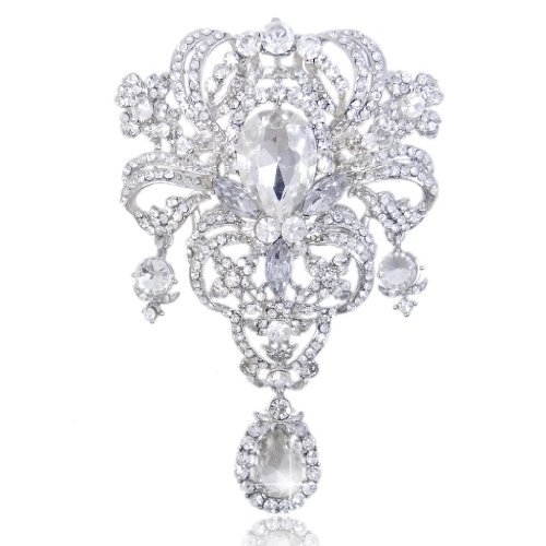 EVER FAITH Austrian Crystal Flower Bouquet Tear Drop Pendant Brooch Clear Silver-Tone - Austrian Crystal Flower