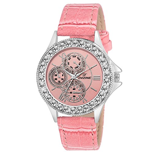 Dezine Crystal Studded DZ LR096 PNK PNK Analog Watch