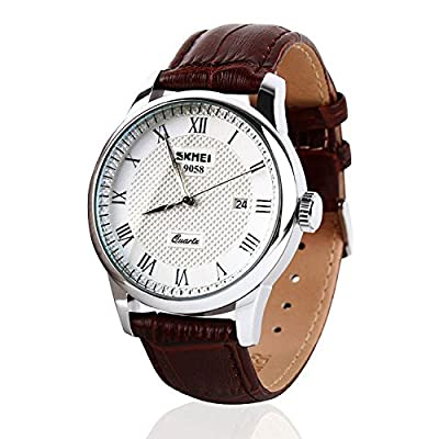 Mens-Unique-Roman-Numeral-Fashion-Design-Quartz-Analog-Waterproof-Wrist-Business-Casual-Watch-with-Stainless-Steel-Case--98ft-30M-3ATM-Water-Resistant--Comfortable-PU-Leather-Band---Brown