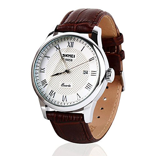 Mens Unique Roman Numeral Fashion Design Quartz Analog Waterproof Wrist Business Casual Watch with Stainless Steel Case, 98ft 30M 3ATM Water Resistant, Comfortable PU Leather Band - Brown