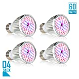 Led Grow light Bulb, 60W Full Spectrum Grow lights E26 Grow Plant Light for Hydroponics Greenhouse Organic, Lights For Fish Tank, Hydroponic Aquatic Indoor Plants,Pack of 4