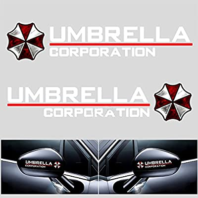 YSpring 1 Pair auto Rearview Mirror Reflective Decals Resident Evil Umbrella Corporation car Mirror Stickers for car Motorcycle Truck (Style E- White): Arts, Crafts & Sewing