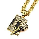 Tidoo Jewelry Men's Cool Hip Hop Tape&Microphone Pendant Golden Necklaces