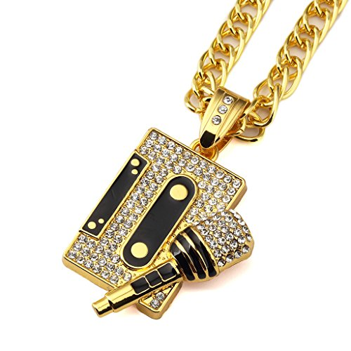 TIDOO Jewelry Men's Cool Hip Hop Tape&Microphone Pendant Golden Necklaces