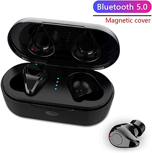 Wireless Earbuds TWS Stereo Headphones Bluetooth 5.0 Headset in-Ear Earphone One-Step Pairing with Button-Control Operation High Definition Mic Stereo Calls with Charging Case Black
