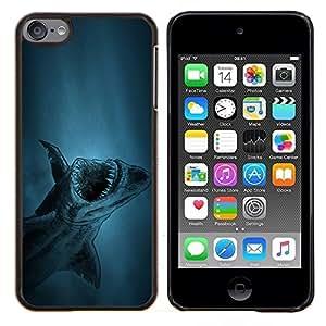 KLONGSHOP // Cubierta de piel con cierre a presión Shell trasero duro de goma Protección Caso - tiburón akula peces ryba - Apple iPod Touch 6 6th Touch6 //