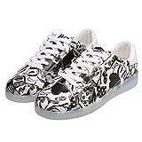 eshion Couple LED Light Up Letter Print Round Toe Flatform Sneakers (39 EU=8 B(M)US, White)