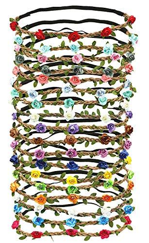 G Ganen Set of 12 Mix Color Mini Flower Crown Headband /Halo/ /Edc /Hippie Flower Headband /Garden Party / Wedding (12 PCS) by Mhysa ()