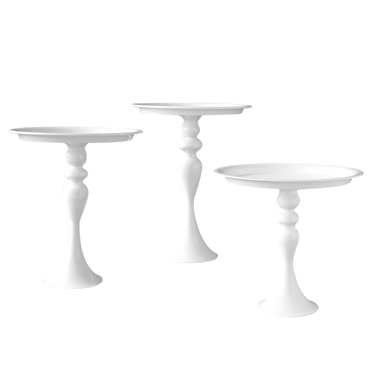 VILAVITA Cake Stands 3-Set Round Cupcake Stands with Simple Design, Dessert Cake Stand, White
