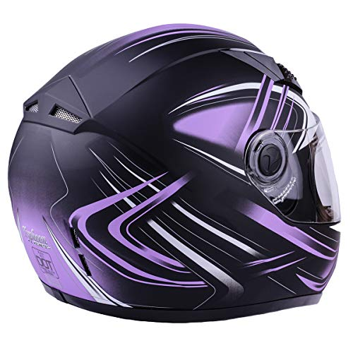 Typhoon Women's Full Face Motorcycle Helmet DOT (Matte Purple, Medium)