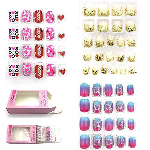 Jellyparty2018 Fake Nails for Kids 68pcs Self-adhesive Nail Stickers Multi Color False Art Nail Decal (B)]()