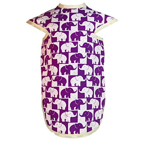 Pie Face Full Body Baby Bibs for Girls and Boys Slip-On Body Coverage to Protect Toddler Skin & Clothes | Cotton Polyester | Washable, Reusable 6-36 Months (Purple Elephant, Hearts And Polka Dots)