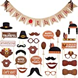 Boao Thanksgiving Banner Give Thanks Burlap Bunting Banner and 29 Pieces Assorted Photo Booth Props for Thanksgiving Day Party Supplies Decoration