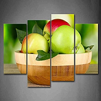 Amazon.com: First Wall Art - Colourful Apples With Leaves In The ...