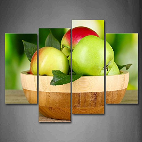 Bowl Canvas Print (First Wall Art - Colourful Apples With Leaves In The Bowl Wall Art Painting Pictures Print On Canvas Food The Picture For Home Modern Decoration)