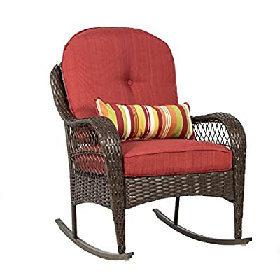 Best Choice Products Outdoor Wicker Patio Rocking Chair with Weather-Resistant Cushions and Steel Frame