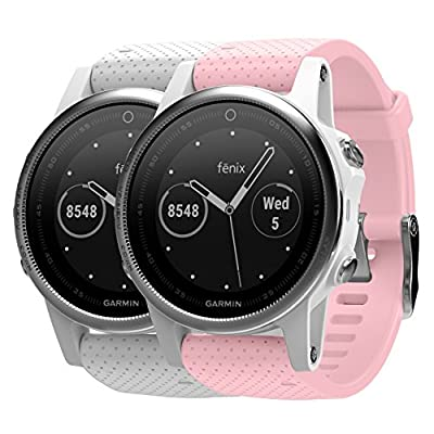 Garmin Fenix 5S White with White Band 010-01685-00 and extra Wearable4U Pastel Pink 20 mm Quick Release Silicone Watch Band Bundle
