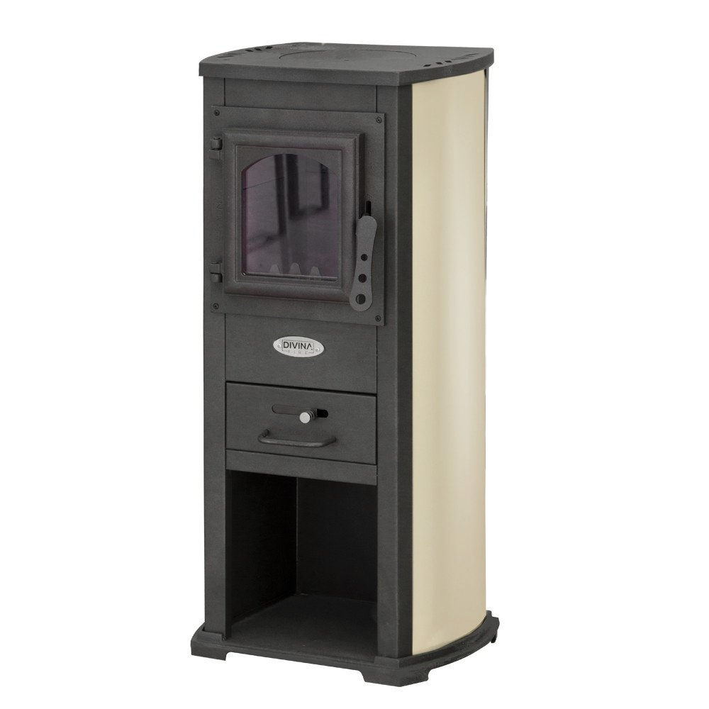 Divina Fire Stufa a legna 5-7Kw beige con portalegna riscaldamento casa DF51696
