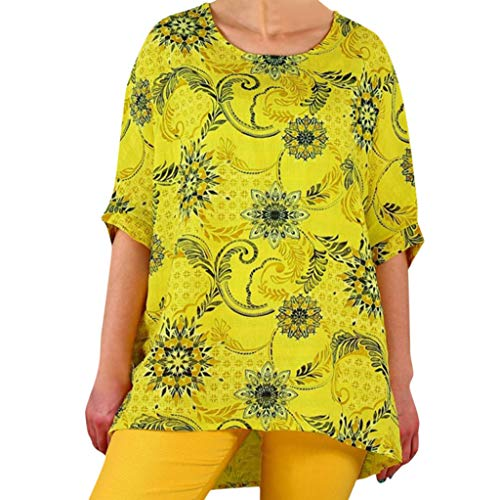 Womens Blouse V Neck Round Neck Loose Casual Sleeve Short Mini T-Shirt ATRISE Yellow -