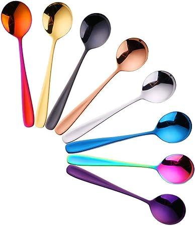 Juego de cucharas de té / café 8 Piezas Arco Iris Colorido Cuchara de Café de Acero