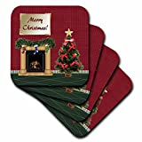 3dRose cst_167288_1 Christmas Tree, Fireplace with Stockings, Merry Christmas Soft Coasters, Set of 4