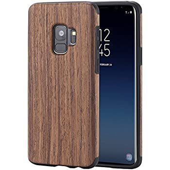 buy online 5dcfc a20ea Lontect Compatible Galaxy S9 Case Slim Matte Shock Absorbing Flex TPU Non  Slip Wood Tactile Extra Grip Rubber Bumper Case Cover for Samsung Galaxy  S9, ...