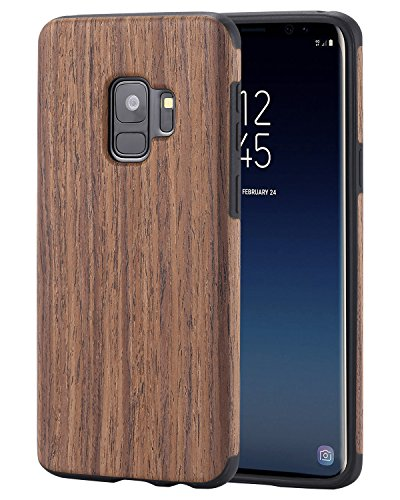Lontect Compatible Galaxy S9 Case Slim Matte Shock Absorbing Flex TPU Non Slip Wood Tactile Extra Grip Rubber Bumper Case Cover for Samsung Galaxy S9, Rosewood