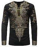 Wofupowga Men's Floral Printed Loose Muslim Ethnic Style Dashiki Tee Top T-Shirts Black s
