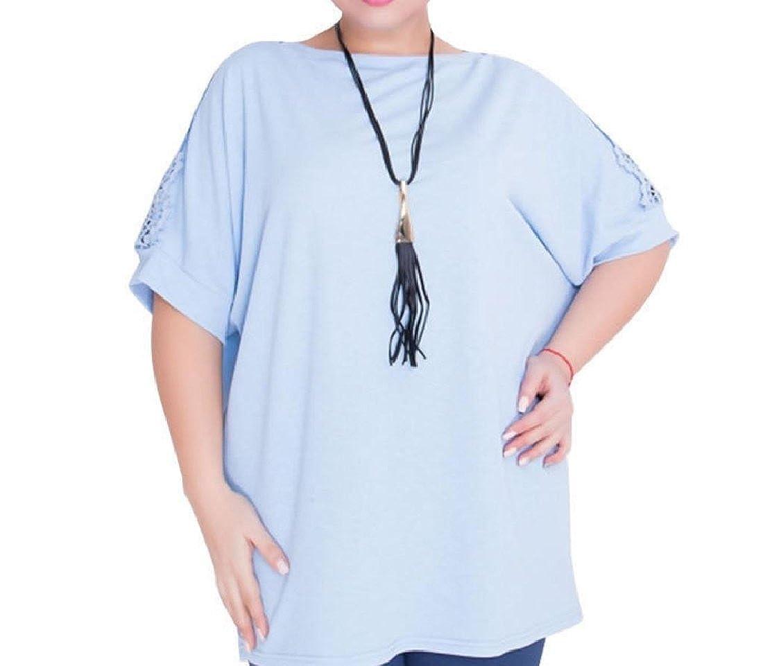 cheelot Women's Raglan T Shirts Plus Size Lace Stiching Summer Tops