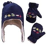N'Ice Caps Boys and Baby Fleece Hat Mitten Set (Navy, 2-3 Years)